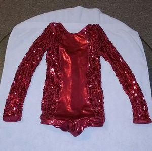 Red sequin dance recital biketard